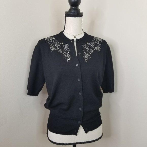 Vtg 50s Wool Beaded Black Cardigan Sweater Top S
